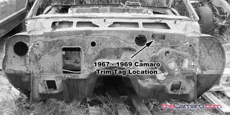 1967 through 1969 Chevrolet Camaro Trim Tag Location